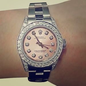 Pre-owned Rolex diamond bezel ladies salmon dual